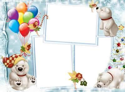 Child Frame - White fluffy snow in the air, spinning, polar bears, like a snowball