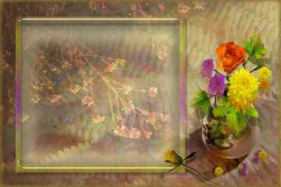 PSD Frame for photo - Autumn bouquet ( free photo frame psd, free download )
