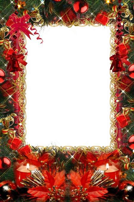 New Year greeting photo frame - Snegurochka hurry on holiday