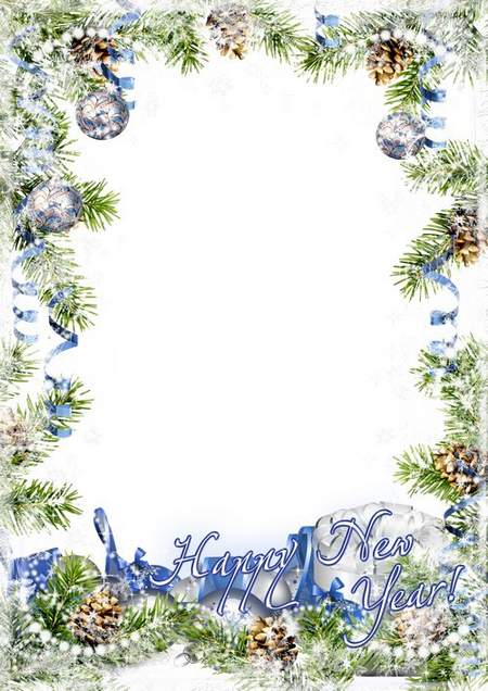 Greeting New Year photo frame - White blizzard ( free photo frame psd + free photo frame png, free download )