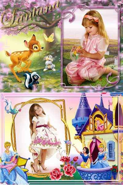 Frames for Girls - Visiting Fairy Tales ( free photo frames psd, free download )