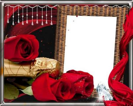 Frame psd with rose -  Red roses in gift loved