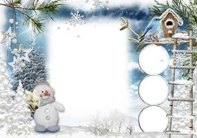 Winter frame for photoshop - frost and sun day is wonderful ( free photo frame psd, free download )