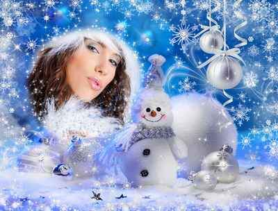 New Year's frame psd – I the Glamour snowman and I have got used to gifts …