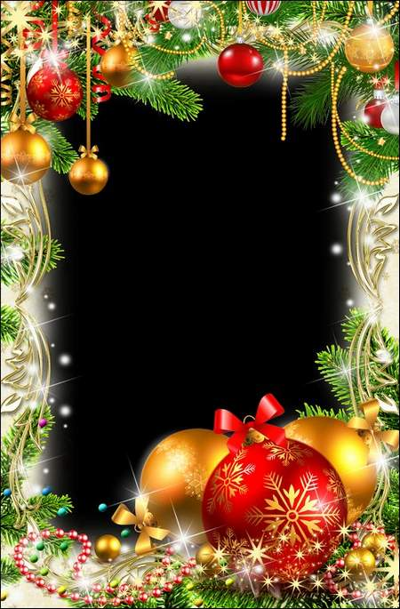 Christmas frame psd for photo - dress up our Christmas tree in gold beads