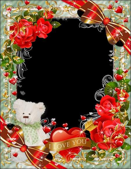 Romantic photo frame with a bear and red roses