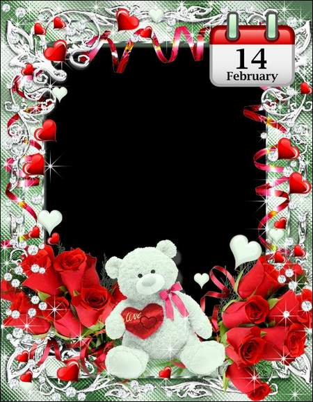 Romantic frame by 14 February - Love ( free photo frame psd, free download )