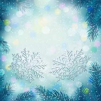 Blue winter background psd - snowflakes, fir-tree branches ( free psd background, free download )