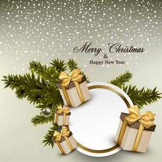 Christmas PSD source for Photoshop - snow, fir-tree branches, holiday boxes with gifts ( free psd file, free download )