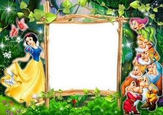 Children photo frame - Snow White and the seven dwarfs ( free photo frame psd + free photo frame png, free download )