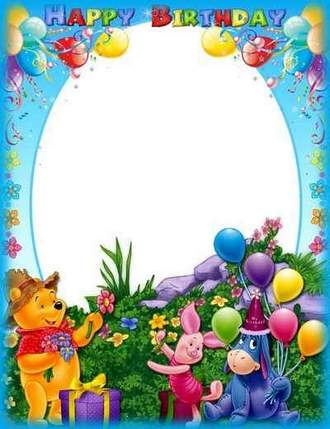 Birthday Photo frame psd - Happy Birthday with Winnie the Pooh ( free photo frame psd, free download )