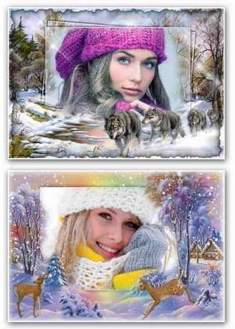 Winter photo frames for Photoshop collages download ( free 2 photo frame psd + free 2 photo frame png, free download )