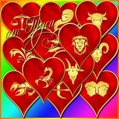 Clipart psd - Love Heart with zodiac signs