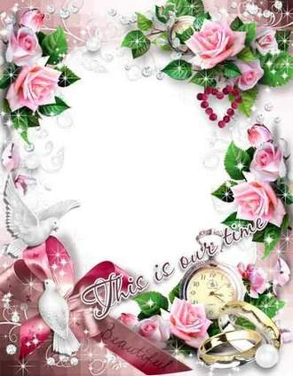 Wedding Photo Frame with pink roses - This is our time
