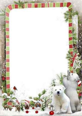 Winter photo frame template - Polar bear in the winter forest ( free photo frame psd + free photo frame png, free download )