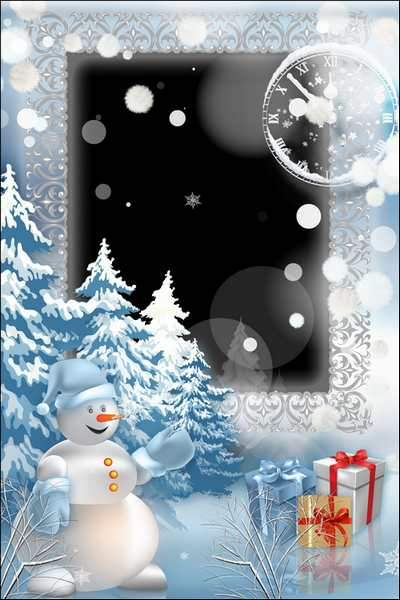 Christmas frame - Snowman ( free photo frame psd, free download )