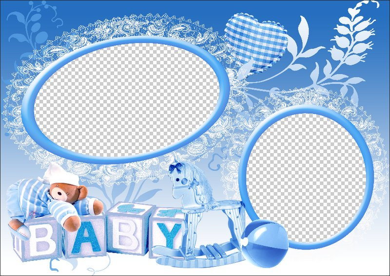 Baby Boy Frame Blue Frames 2 Layered Psd Png